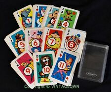 Whitman Childrens Card Game - CRAZY EIGHTS in clear case * VTG Circus Animal 8's