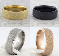 8mm Stainless Steel Silver Gold Rose Black Ring Mens Womens Wedding Band N to Z1