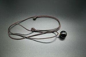 Smooth Black Tourmaline Bead Pendant Round Ball Pendant 16MM Gift for Him to Her