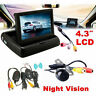 4.3 Car Rear View Monitor Wireless Backup Camera Parking System Kit Night Vision