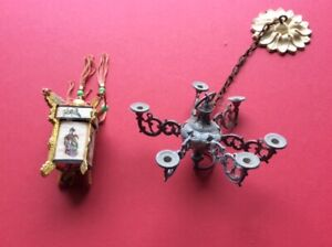 Vintage dolls house chandelier and Chinese lantern 1/8th scale