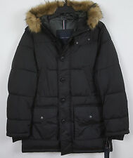 TOMMY HILFIGER MENS DOWN PARKA JACKET FUR HOOD BLACK $295 RARE NWT (SIZE MEDIUM)