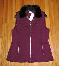 Calvin Klein Womens Plum Vest Black Fur Collar Vest M, L NWT $89