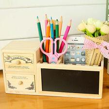 Wood Desk Pen Pencil Holder Storage Box Versatile Organizer Drawer Blackboard