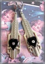 Vintage Art Deco Black Glass Heart Germany Crystal Earrings Silver Filigree