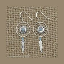 verry nice dreamcatcher dropearrings with turquoise stone,92.5 sterling silver