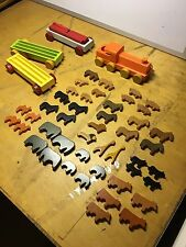 Vintage Dusyma Rare Circus Wooden Block Toy Train Set Made in Western Germany