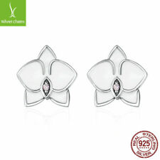 Authentic 925 Sterling Silver White Orchid White Enamels & Pink CZ Stud Earrings