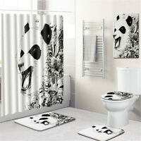 Panda Bathroom Rug Set Shower Curtain PVC Shower Mat Bath Mat Toilet Lid Cover