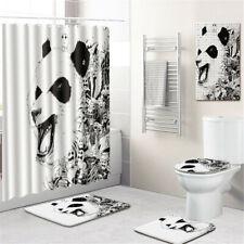 Panda Bathroom Rug Set Shower Curtain PVC Shower Mat Bath Mat Toilet Lid Cover