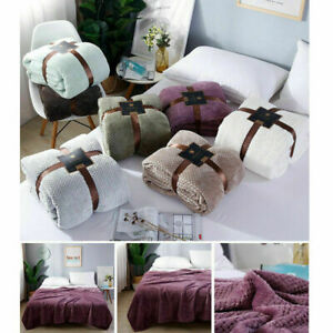 NEW LUXURY FLEECE THROW SOFT WARM SOFA BED BLANKET KING SIZE 9 COLORS 6 SIZES