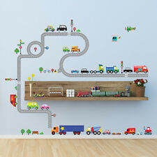 Decowall Cars Transports Roads Kids Removable Wall Stickers Decal DW-1204P1205A