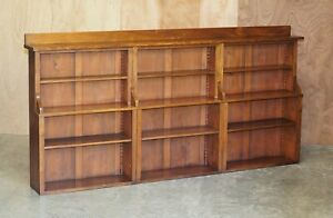 ANTIQUE VICTORIAN 1860 WALNUT THREE SECTION LONG DWARF OPEN LIBRARY BOOKCASE