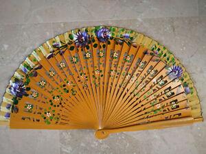 Spain Flamenco Handfächer Pocket Fan Folding Fan Wooden E Yellow