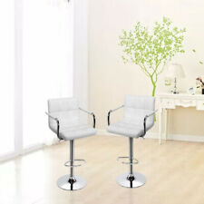 Set of 2 Bar Stools Adjustable Modern Swivel Dining Chair Counter Height Leather