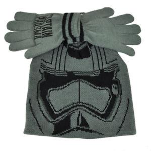 Star Wars Captain Phasma Glove & Knit Set Cuffless Beanie Kids Youth Grey Movie