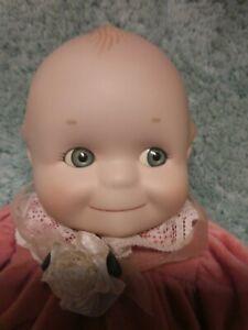 "Jesco 1997 Porcelain Kewpie Doll Pink Velour Dress 12"" So Cute!!"