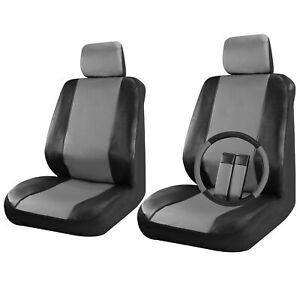 Faux Leather Car Seat Covers Black / Grey 9pc Set for Front Seat Steering Wheel