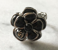 Authentic Chanel Black enamel/silver Camellia Flower Ring - 7