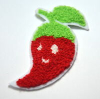 RED HOT CHILLI PLUSH CAPSAICIN 8cm Embroidered Sew On Cloth Patch Badge APPLIQUE