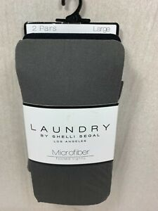 NEW 2 PAIRS LAUNDRY BY SHELLI SEGAL WOMEN MICROFIBER FOOTED TIGHTS BLACK / GREY