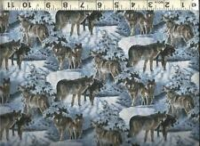 Springs ~ Silver Wolf Grey Wolves Snow ~ 100% Cotton Quilting Sewing Fabric BTY
