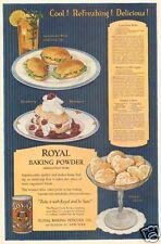 antique ROYAL Baking Powder ORANGE CAKE Cookie Recipe DELI SANDWICH Iced Tea AD