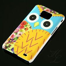 Samsung Galaxy S2 i9100 Hard Handy Case Schutz Hülle Etui Eule Gelb Schale Owl