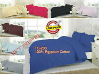 "T-200 100%Egyptian Pure Cotton Duvet Quilt Cover 16""Deep Fitted Sheet Pillowcase"