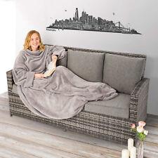 Coperta con le maniche soffice dormire divano tasca del mobile 170x200cm grigio
