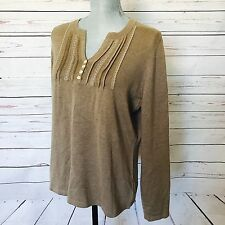 Eddie Bauer Silk and Angora Sweater Tan Brown Button Detail Long Sleeved Large