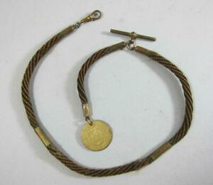VICTORIAN ANTIQUE WOVEN HAIR ALBERT POCKET WATCH CHAIN & FOB Necklace Mourning