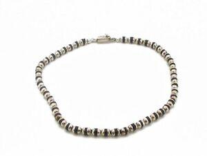"Estate Sterling Silver 925 Black Onyx Round Ladies Necklace 39.2g 17""L"