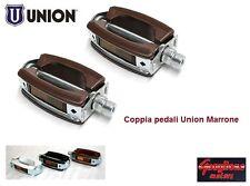 0237 - COPPIA PEDALI UNION SPORT/VINTAGE MARRONE PER BICI 20/24/26/28 CITY BIKE
