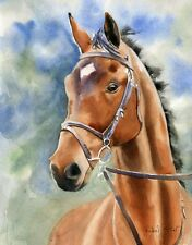 Horse Art Original Thoroughbred Hunter Painting Painting Portrait Bay Warmblood