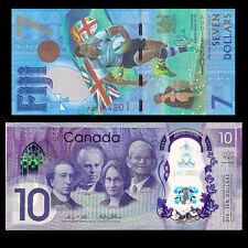 SET 2 PCS, Canada 10+ Fiji 7 Dollars, 2016/2017, P-NEW, Polymer+ Paper note, UNC