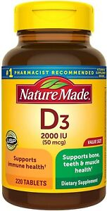 Nature Made Vitamin D3 2000 IU 50 mcg 220 Tablets New Sealed