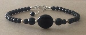 BLACK ONYX Coin+Round Gemstone, Sterling Silver, Beaded Friendship Bracelet