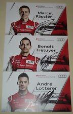 Le Mans-FIA CME 2013 ROUND 1 SILVERSTONE 2nd posizionare AUDI R18 #1 SET Di Carte Firmato