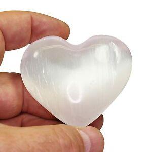 "Selenite Puffy Heart 2"" / 50mm Natural Healing Crystal Reiki Gemstone Specimen"