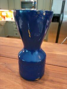 Haeger USA Pottery Greek Key Vase Blue Overlay