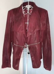 ZAC&ZOE Size XL Quirky Wine Faux Snakeskin Jacket