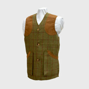 TWEED SHOOTING VEST WOOL BUTTON FRONT NEW SIZE MED/L/XL /XXL HUNTING CLAYS
