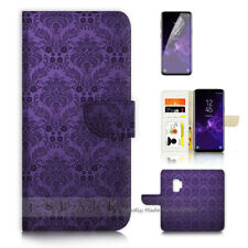 ( For Samsung S9 ) Wallet Case Cover P40670 Purple Old Damask