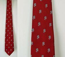 VTG MAG Neckwear Red Rose Print Polyester Skinny Necktie Tie