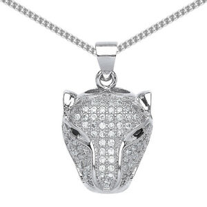 Jewelco London Mens Silver CZ Panther Charm Necklace 18 inch