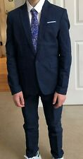 New H&M Boy's Size 10-12Y Textured Blazer and Suit pants blue