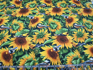 3 Yards Quilt Cotton Fabric - David Textiles Farm Life Sunflowers & Birds Packed