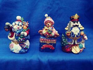 Porcelain Christmas Hand Painted Snowman,Teddy Bear or Nutcracker Trinket Boxes