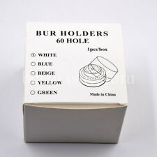 60 Holes Round Dental Burs Holder Block Case Box Slots With Plastic Lid White